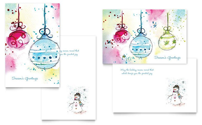 Christmas Card Template Word Whimsical ornaments Greeting Card Template Word & Publisher