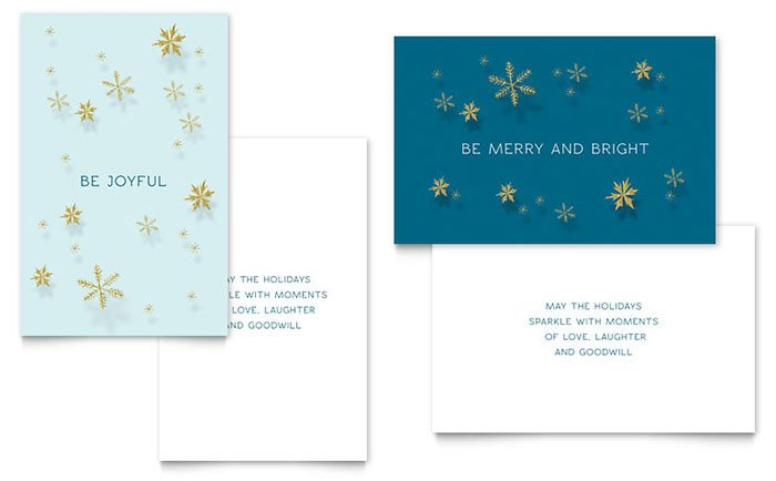 Christmas Card Templates Word Golden Snowflakes Greeting Card Template Word & Publisher