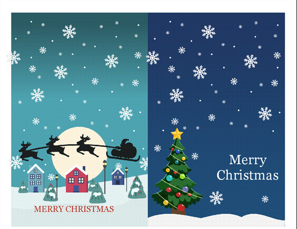 Christmas Card Templates Word Holiday Note Cards Christmas Spirit Design 2 Per Page