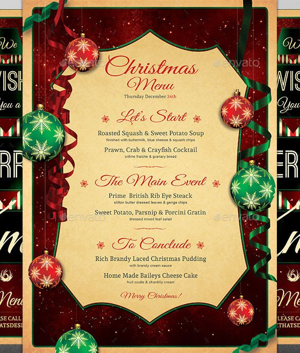 Christmas Flyer Templates Word Christmas Menu Template – 30 Free Psd Eps Ai