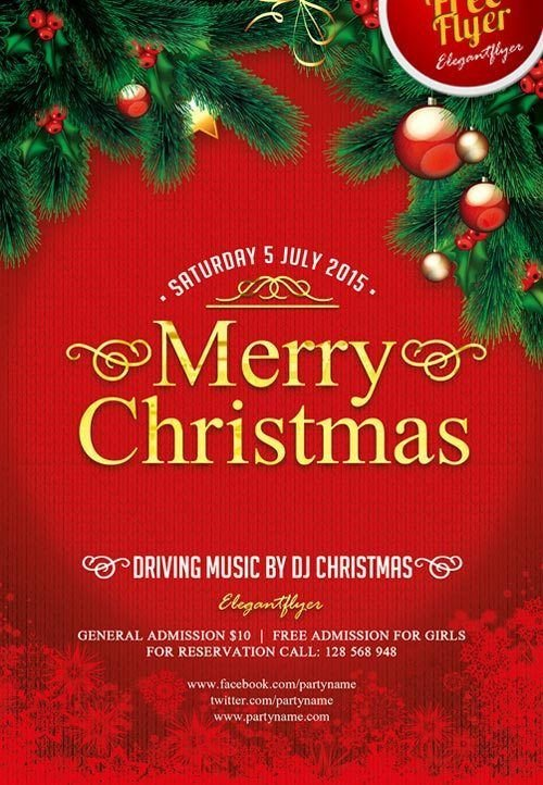 Christmas Flyer Templates Word Merry Christmas Free Psd Flyer Template Design