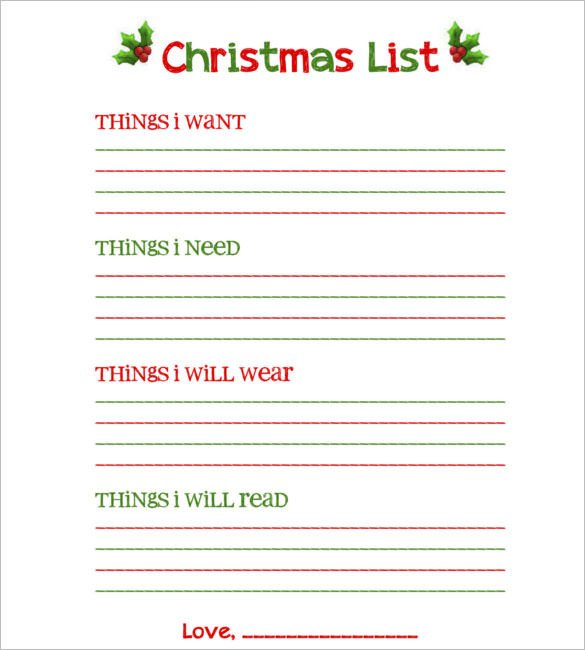Christmas Gift List Template 27 Christmas Gift List Templates Free Printable Word
