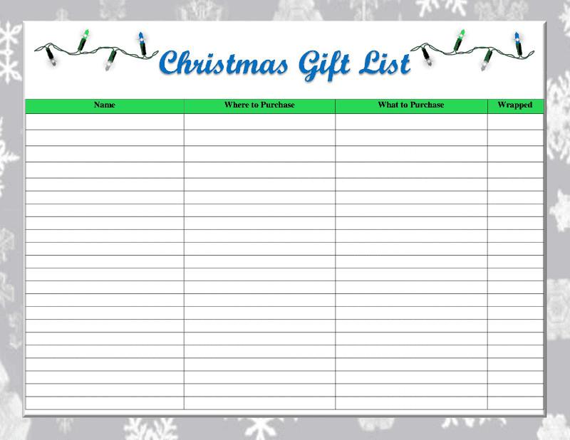 Christmas Gift List Template E Thrifty Space Free Printable Christmas Gift List