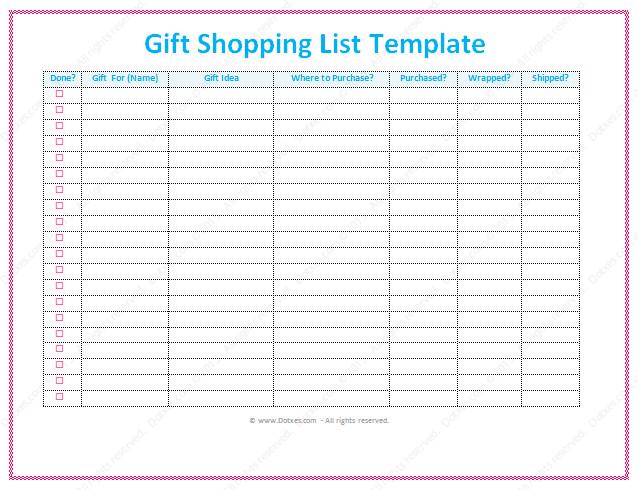 Christmas Gift List Template Gift List Template Word Dotxes