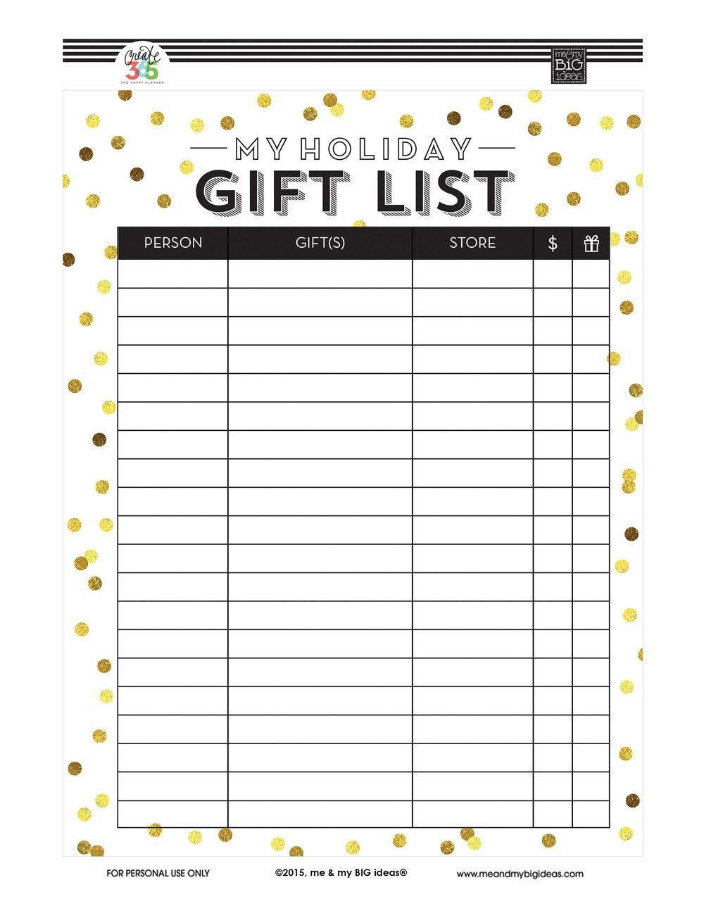 Christmas Gift List Template Holiday Gift List Free Printables — Me & My Big Ideas