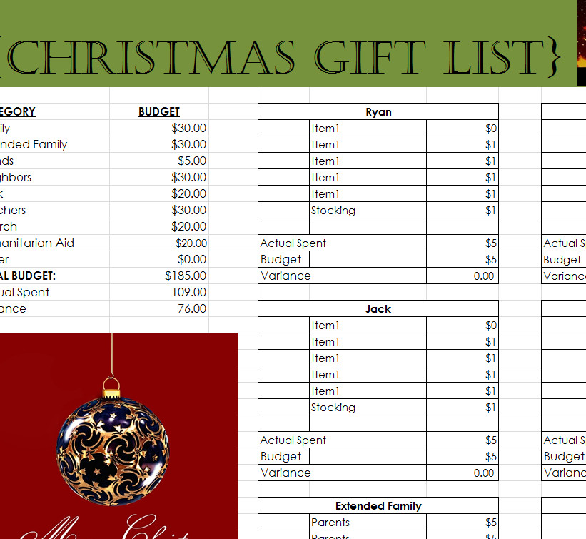 Christmas Gift List Template Prehensive Christmas Gift List My Excel Templates