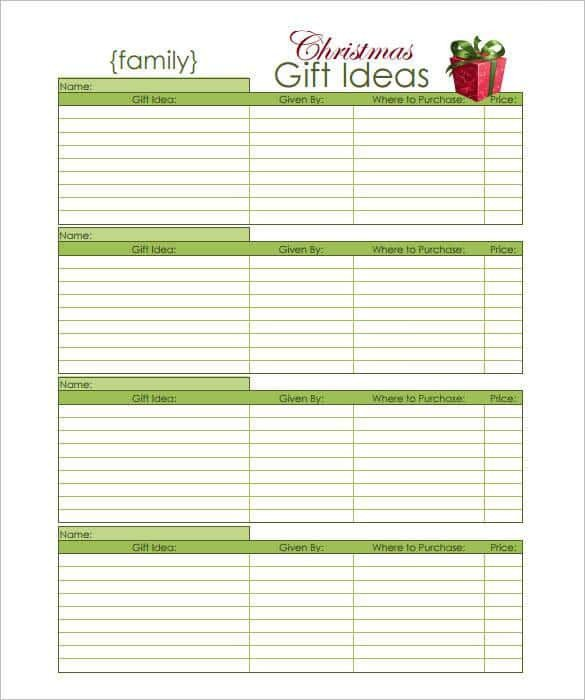 Christmas Gift Lists Templates 24 Christmas Gift List Templates Free Printable Word