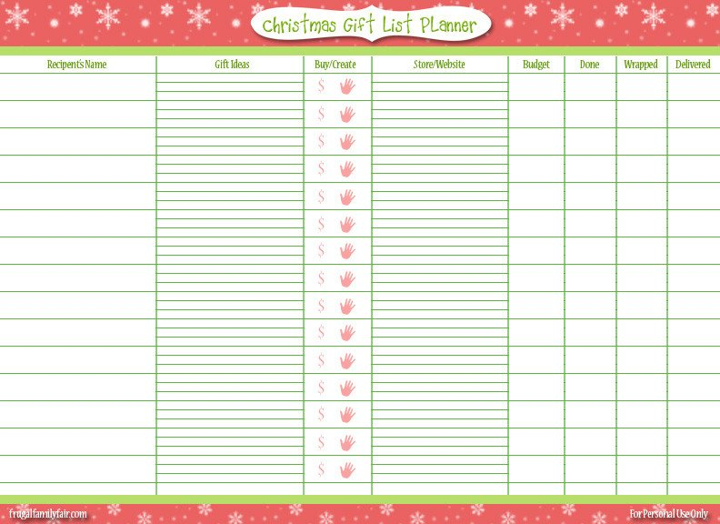 Christmas Gift Lists Templates Free Printable Christmas Gift List