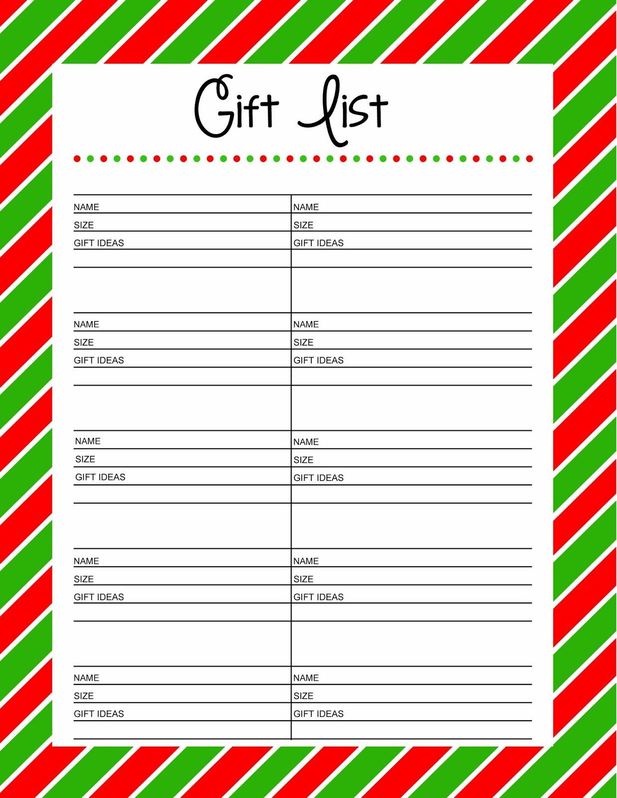 Christmas Gift Lists Templates Free Printable Gift List 25 Days to An organized