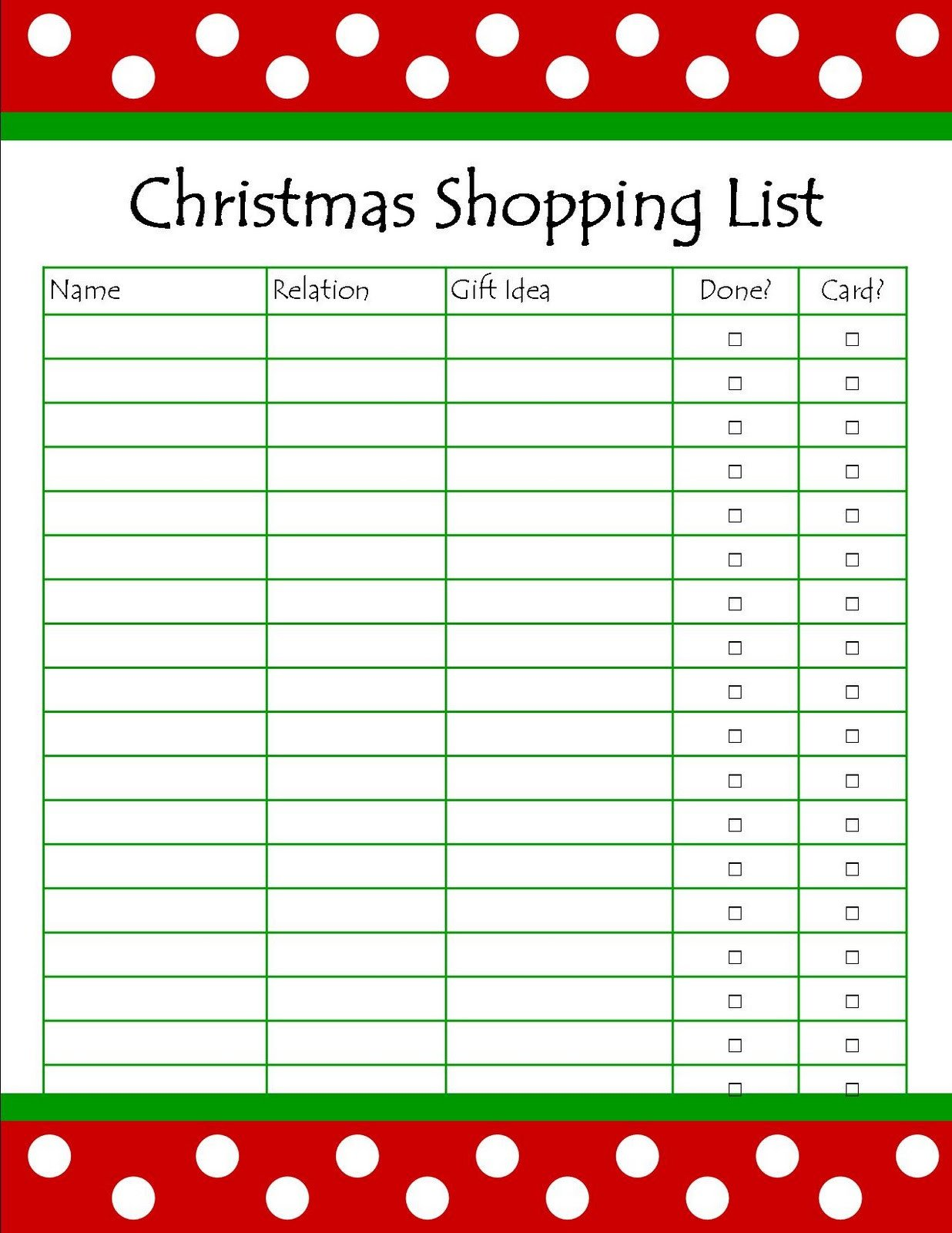 Christmas Gift Lists Templates It S so Splendid Free Printable Christmas Shopping List