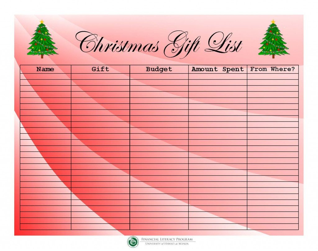Christmas Gift Lists Templates What's New