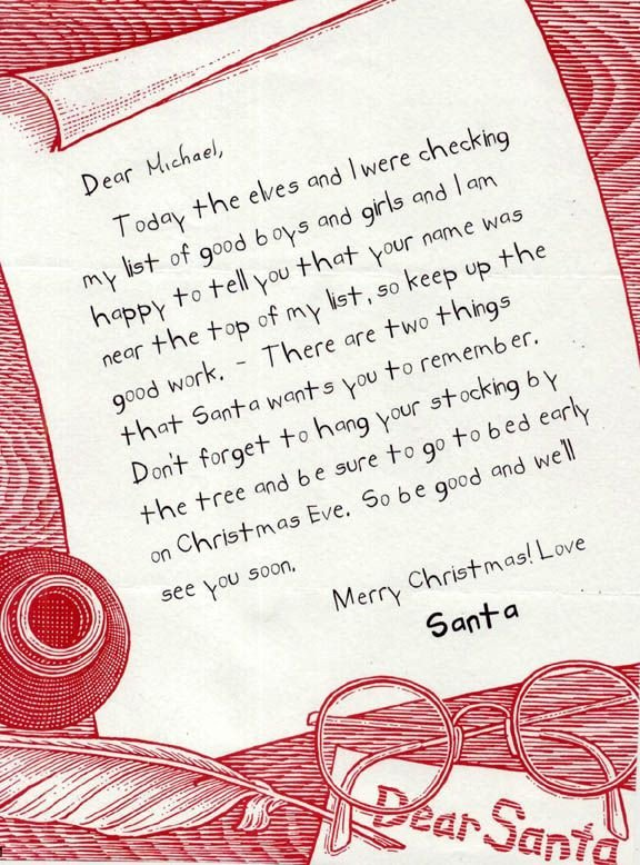 Christmas Letter to Boyfriend Letter From Santa