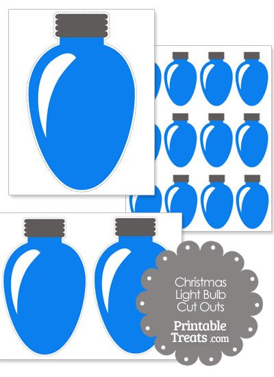 Christmas Light Bulb Cut Outs Blue Christmas Light Bulb Cut Outs — Printable Treats