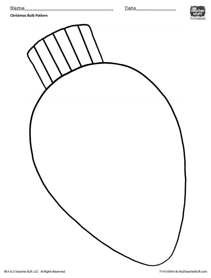 Christmas Light Bulb Cut Outs Christmas Bulb Coloring Pattern or Coloring Sheet