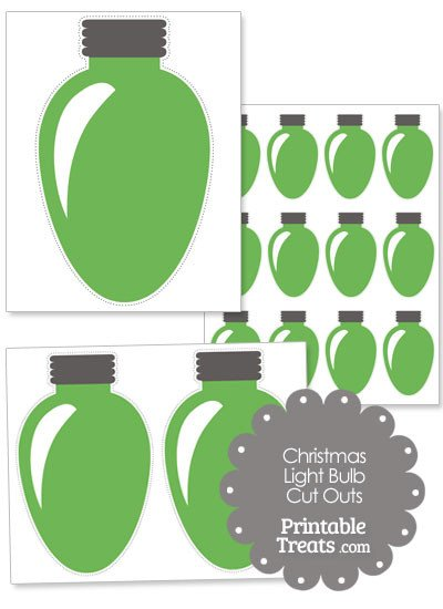 Christmas Light Bulb Cut Outs Green Christmas Light Bulb Cut Outs — Printable Treats