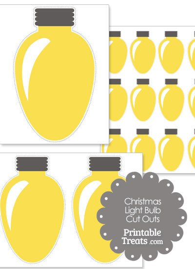 Christmas Light Bulb Cut Outs Yellow Christmas Light Bulb Cut Outs — Printable Treats