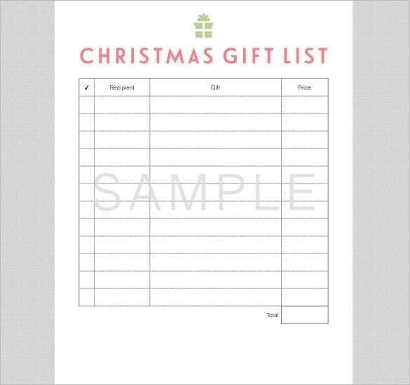 Christmas List Template Word 24 Christmas Gift List Templates Free Printable Word