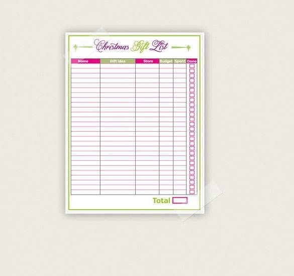 Christmas List Template Word 24 Christmas Gift List Templates Free Printable Word