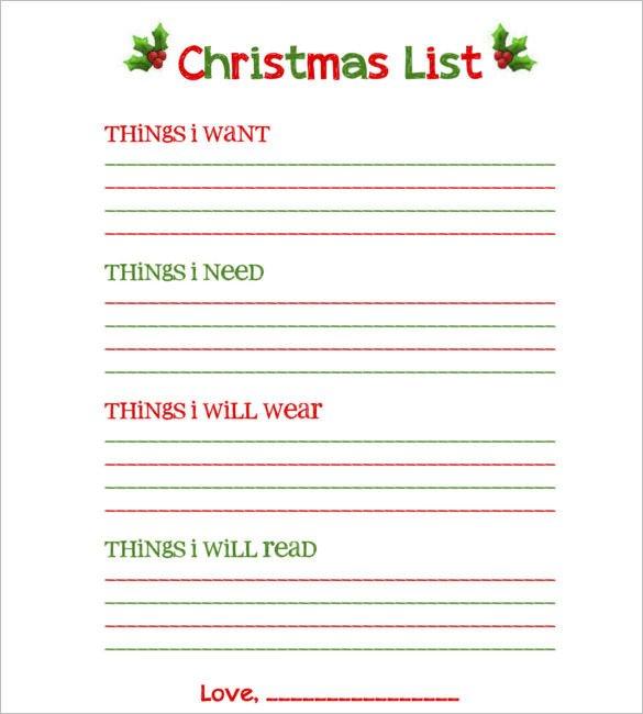 Christmas List Template Word 27 Christmas Gift List Templates Free Printable Word