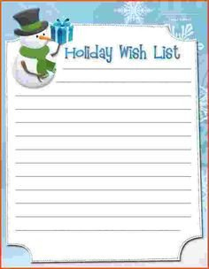 Christmas List Template Word Best Free Printable Play Money