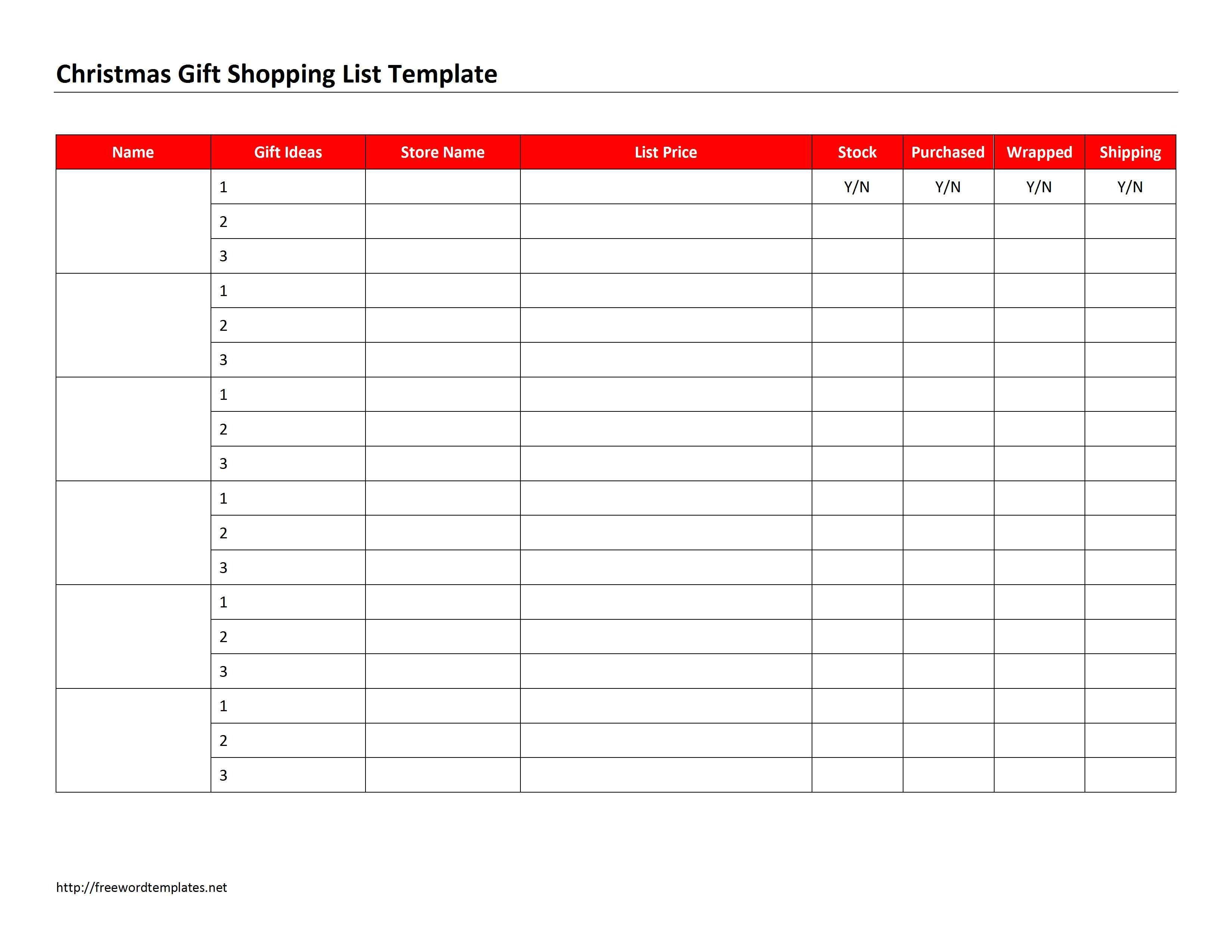 Christmas List Template Word Christmas Gift Shopping List