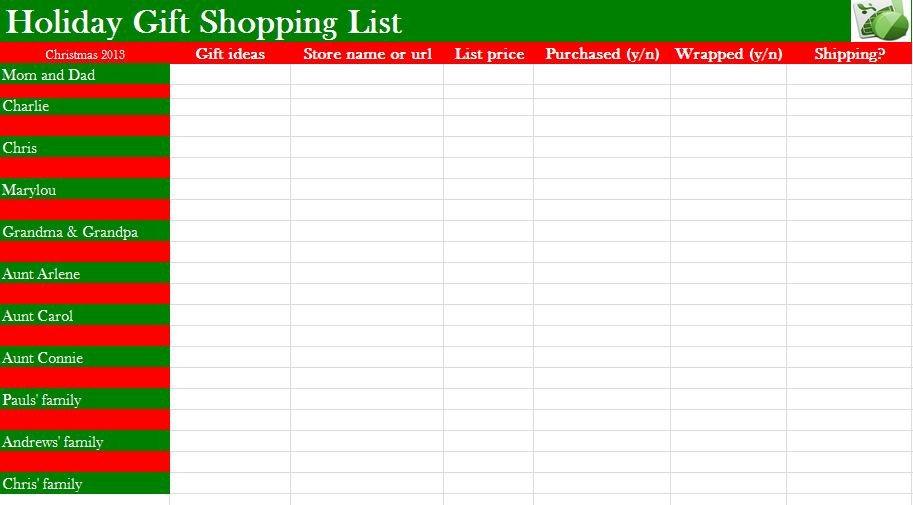 Christmas List Template Word Christmas List Template