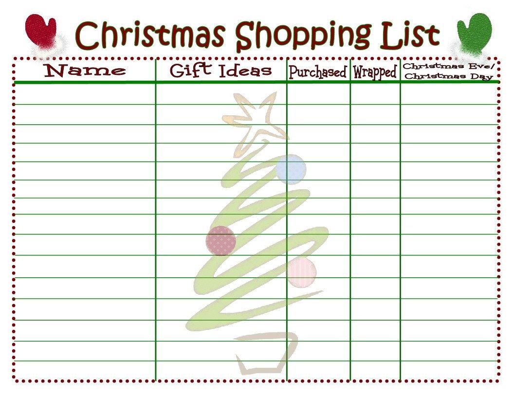 Christmas List Template Word Christmas Shopping List Printable Mom Timeout