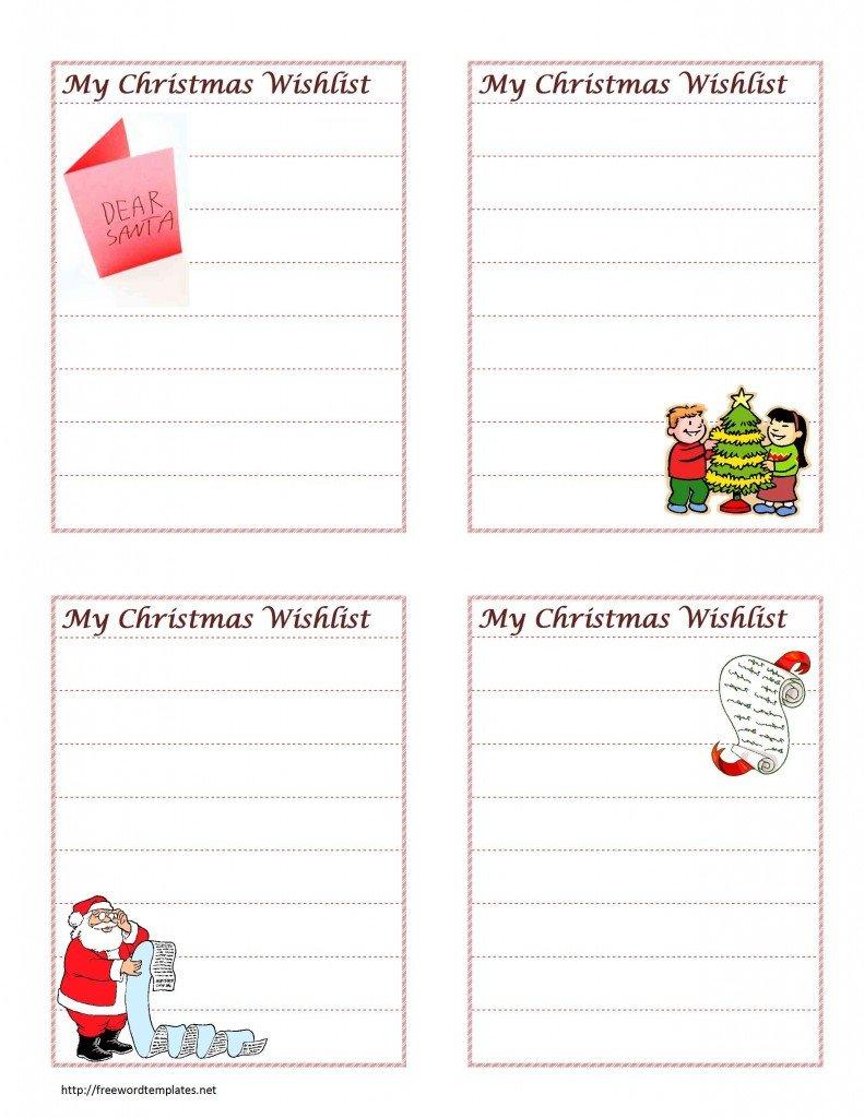 Christmas List Template Word Christmas Wish List
