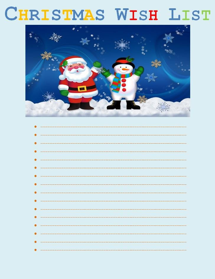Christmas List Template Word Christmas Wish List Template
