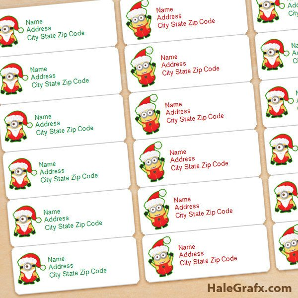Christmas Mailing Labels Template Free Printable Christmas Minions Address Labels