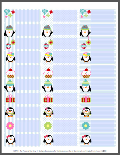 Christmas Mailing Labels Template Holiday Labels Set with Penguins by Anythingbutperfect