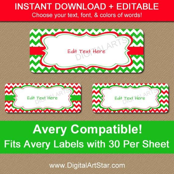 Christmas Mailing Labels Template Printable Avery Christmas Address Labels by Digitalartstar