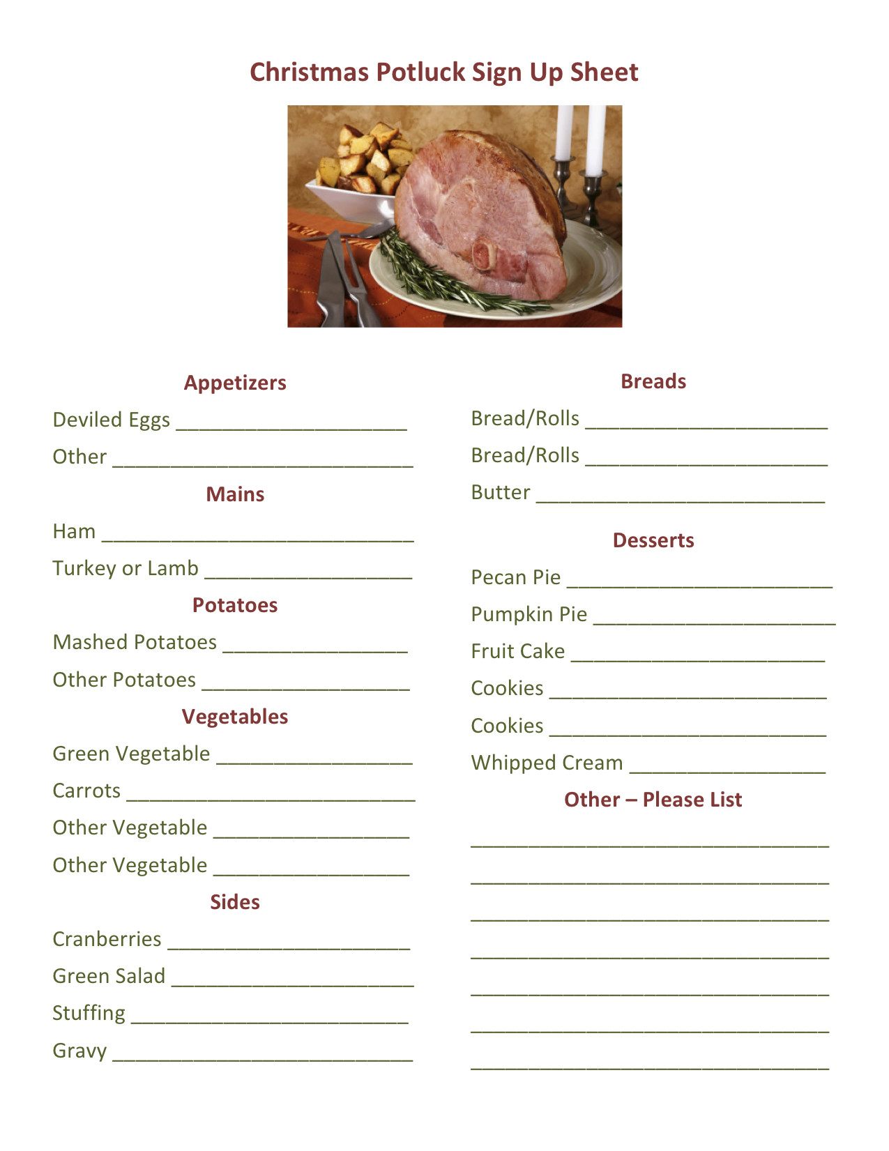 Christmas Potluck Signup Sheet Template 301 Moved Permanently