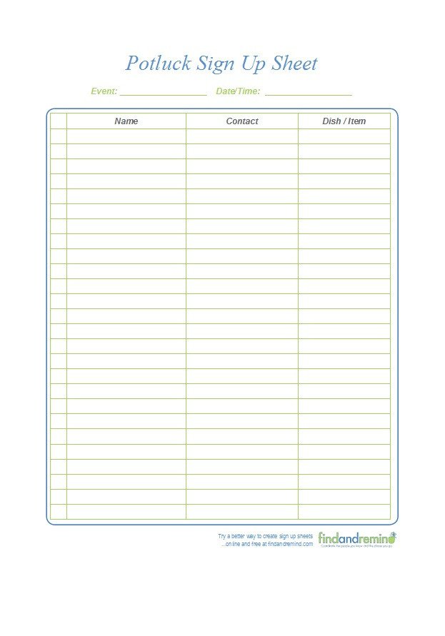 Christmas Potluck Signup Sheet Template 38 Best Potluck Sign Up Sheets for Any Occasion