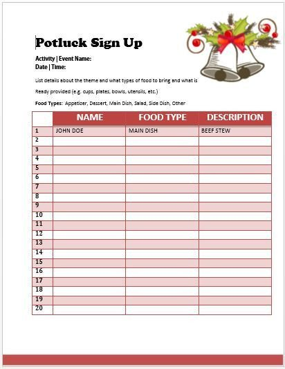Christmas Potluck Signup Sheet Template Pot Luck Sign Up Sheet Template