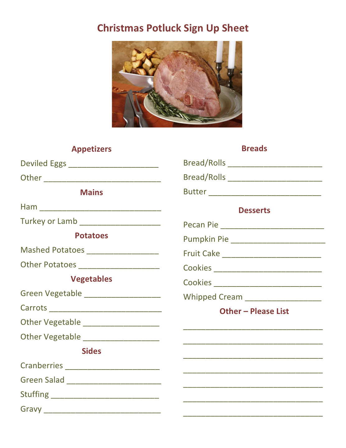 Christmas Potluck Signup Sheet Template Potluck Dinner Sign Up Sheet Printable