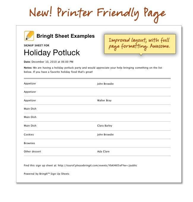 Christmas Potluck Signup Sheet Template Printable Holiday Potluck Sign Up Sheet