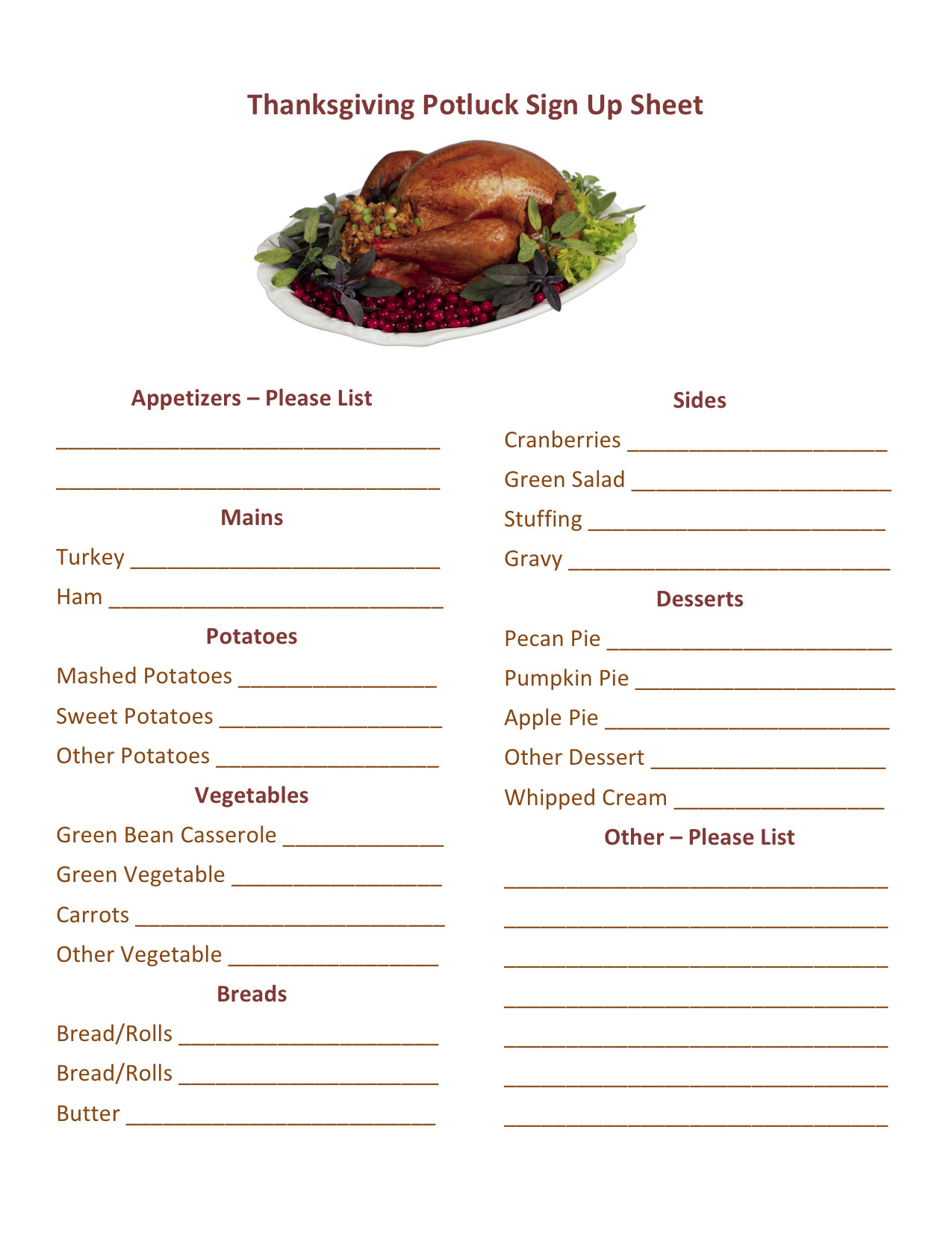 Christmas Potluck Signup Sheet Template Thanksgiving Potluck Sign Up Printable