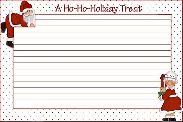 Christmas Recipe Card Template 10 Best Images About Blank Printable Recipe Cards On Pinterest
