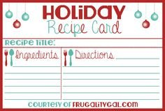 Christmas Recipe Card Template 1000 Images About Recipe Cards On Pinterest