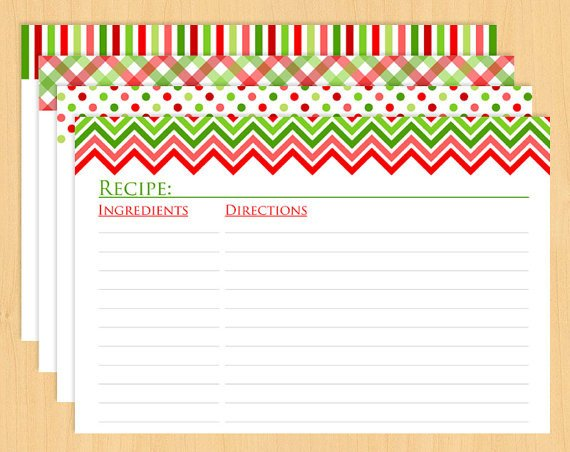 Christmas Recipe Card Template Christmas Printable Recipe Cards 6x4 Editable and