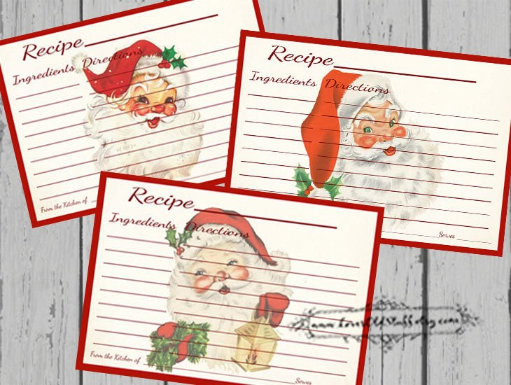 Christmas Recipe Card Template Christmas Recipe Card Set
