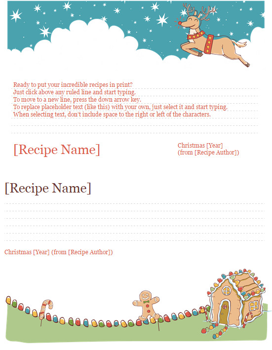 Christmas Recipe Card Template Christmas Recipe Card Template Template Haven