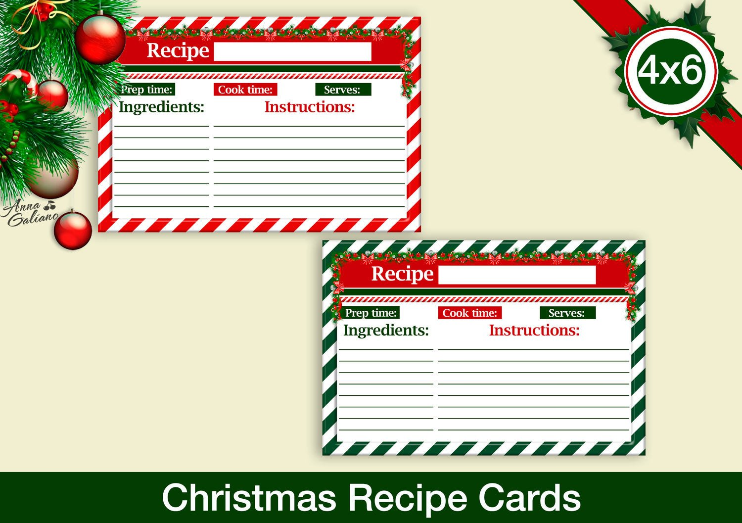 Christmas Recipe Card Template Christmas Recipe Cards 4x6 Recipe Cards Printable Recipe