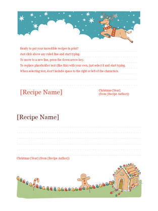Christmas Recipe Card Template Christmas Recipe Cards Fice Templates