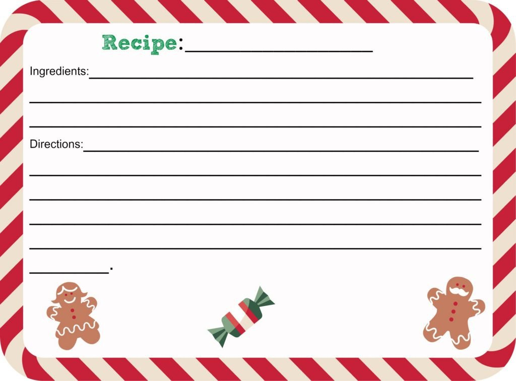 Christmas Recipe Card Template Free Printable Christmas Recipe Card Shesaved