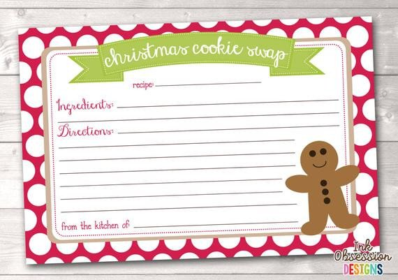 Christmas Recipe Card Template Items Similar to Printable Christmas Cookie Exchange
