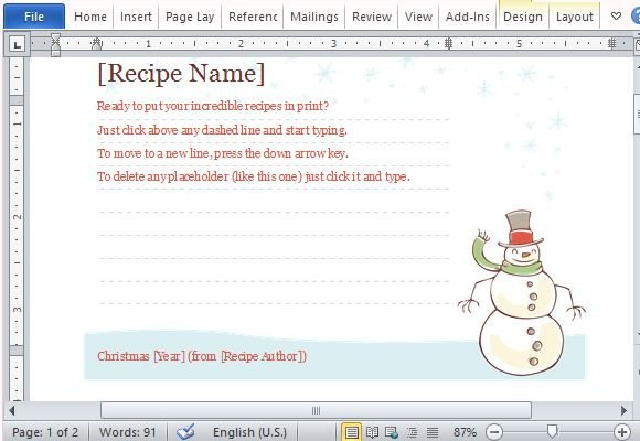Christmas Recipe Card Template Recipe Cards Maker Templates for Word 2013