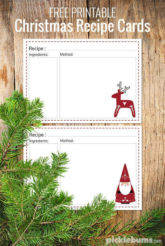 Christmas Recipe Card Template Ten Delicious Food Gifts Free Printable Recipe Cards