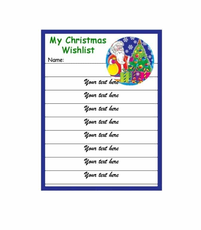 Christmas Wish List Template 43 Printable Christmas Wish List Templates & Ideas